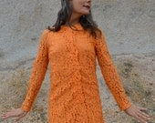 Vintage 60s Mod DRESS Orange Lace Longsleeve MINI DRESS 1960s