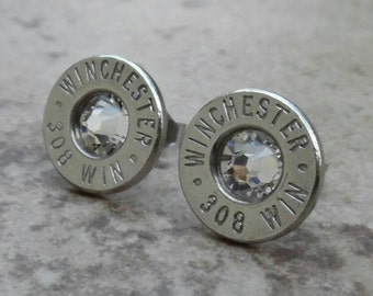 Stud Earring, Winchester 308 Win Brass Nickel Earring, Lightweight Thin Cut, Clear Swarovski Crystal, Surgical Steel Stud - 3720