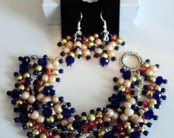Football Jewelry Set, Football Jewelry, Blue and Orange, Chunky Bracelet, Dangle Earrings, Sports Jewelry - DA BEARS