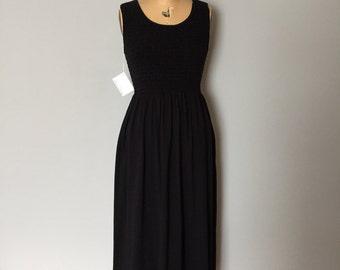 midnight blue cotton maxi dress | 90s side slit dress