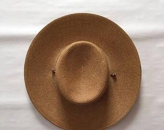 25% OFF SALE ... prairie wild west woman sunhat   leather strap hat   cinnamon woven hat