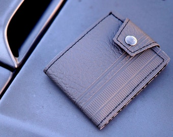 Silver 70's American Truck Bench Wallet - Hand Made of Vintage 1970's Upholstery Vinyl