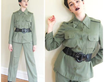 Vintage 1980s 1970s Olive Green Military Pants And Jacket / 80s 70s Women's Army Fatigues Ensemble