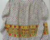 Vintage Folk Art Tole Design Cotton Kitchen Hostess Half Apron
