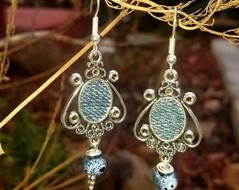 Silver antique cameo Denim Jeans ceramic bead Earrings