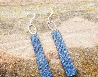 NEW- Denim Earrings-  Stainless oval ring skinny denim jean rectangle