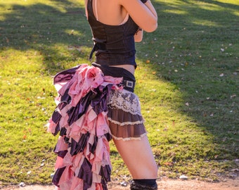 Steampunk Pink and Grey Ruffle Bustle, Steampunk Tattered Ruffle Belt Bustle,Sexy Costume,Burning Man Style,Cosplay Costume,Victorian Bustle