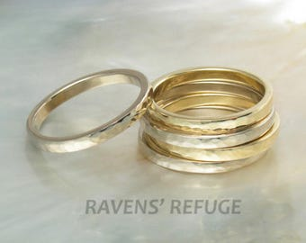 skinny hammered band / stacking ring in yellow, white, or rose gold