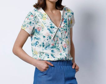 Collared blouse, Short sleeve blouse, Womens blouse, floral top, Short sleeve shirt, Elegant top, Womens top, summer shirt, big collar