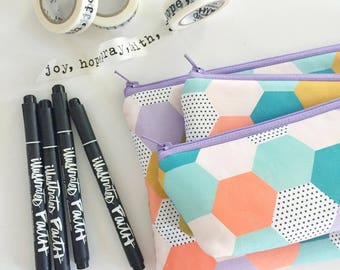 pencil pouch -- MP spring hexies