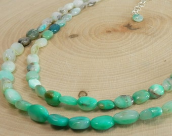 Peruvian Blue Green Opal Nuggets and Sterling Silver Necklace