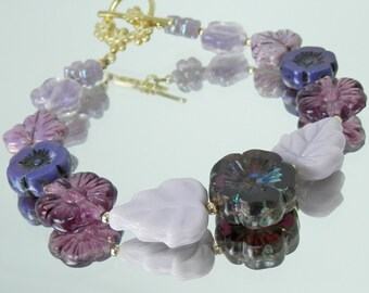 Purple Amethyst Mixed Flower and Bead Bracelet with Czech Handmade Glass and Flower Toggle Clasp