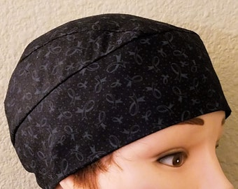 Handmade Lymphoma Chemo Cap or Skull Cap, Surgical Cap, Hat, Black, Gray Ribbons, Do Rag, Head Wrap, Motorcycle, Men, Women, Helmet Liner