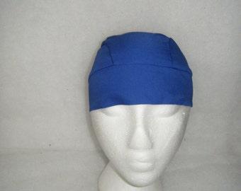Royal Blue Skull Cap or Chemo Cap, Hair Loss, Bald, Biker, Motorcycle, Helmet Liner, Head Wrap, Bandana, Do Rag, Handmade, Alopecia, Caps