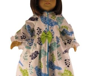 Warm winter flannel doll robe in bird print fits 18 inch dolls like American Girl