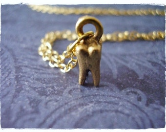 Tiny Gold Tooth Necklace - Antique Gold Pewter Tooth Charm on a Delicate Gold Plated Cable Chain or Charm Only