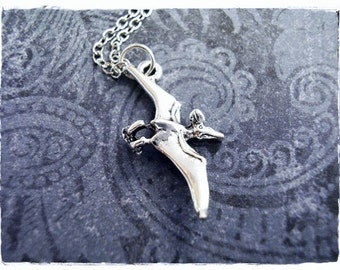 Silver Pterodactyl Dinosaur Necklace - Silver Pewter Pterodactyl Charm on a Delicate Silver Plated Cable Chain or Charm Only