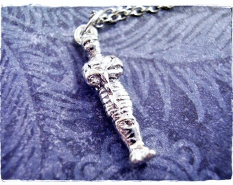 Silver Mummy Necklace - Silver Pewter Mummy Charm on a Delicate Silver Plated Cable Chain or Charm Only