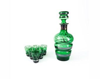 Vintage Emerald Green Glass Decanter Set