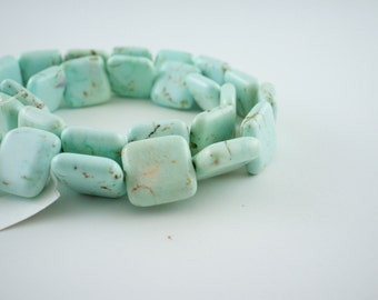 15mm Light Blue Magnesite Puff Square Beads - 15 inch strand - 28 pieces