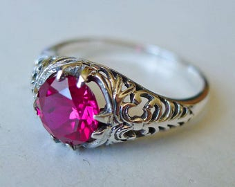 Ravishing 2 carat Ruby and Sterling Silver Ring Filigree Solitaire Size 9 // Victorian Edwardian Art Nouveau Art Deco Engagement Bridal