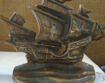 2 Vintage SOLID BRONZE Ship BOOKENDS Cast Bronze Heavy Bookends