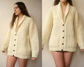 Vintage 100% Wool Irish Made Cream Knitted Aran & Cable Slouchy Granddad Cardigan Size Large