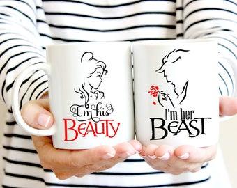 Beauty and the Beast mug. Disney inspired couples mugs. Ceramic mug. 11oz mug. Wedding gift.