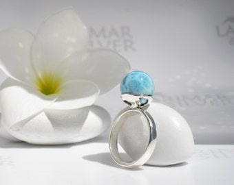 Larimar ball ring size 7 by Larimarandsilver, Mermaid Fiancée 10 - aqua Larimar pearl, marbled turquoise pearl ring handcrafted Larimar ring