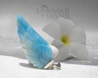 Larimar wing pendant by Larimarandsilver, Waterfall Fairy - clear water blue Larimar feathers, angel wing, sky blue wing, Larimar pendant