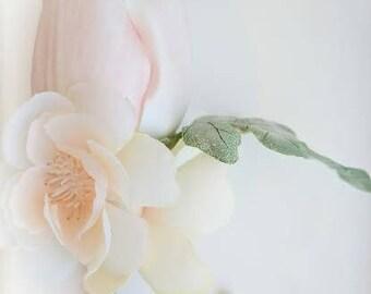 Tulip Boutonniere - Apple Blossoms - Blush Boutonniere - Peach Boutonniere - Wedding Boutonniere - Pink Boutonniere