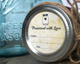 Vintage Preserved with Love canning jar labels, round mason jar stickers for fruit and vegetable preservation, retro jam & jelly jar labels