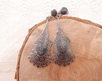1930s Siam Niello Goddess Earrings nielloware large Sterling Silver screw back statement dangle drop