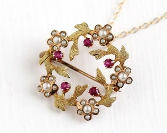 Sale - Antique 10k Rose Gold Simulated Ruby Seed Pearl Flower Wreath Pendant Necklace - Edwardian 1900s Pink Stone Fine Jewelry Brooch Pin