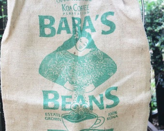 Vintage Burlap Coffee Bag, Bara's Beans, Kona Coffee, Heavy Weight Jute Woven Coffee bag