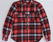ON SALE Red Plaid Heritage Flannel Shirt / Women's Sizing / Ready Made