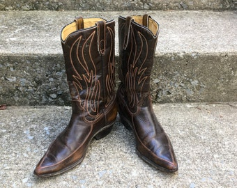 ACME Cowboy Western Boots Brown 1950's Leather Flame Stitch Rodeo Boots Women 7.5 7 1/2 Women's Canada Fantastic!