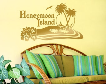 Beach Decor, Personalized Wall Decal, Honeymoon Oasis Island Beach Wall Decor, Hibiscus Flowers, Palm Trees, Metallic Gold (0172bn)