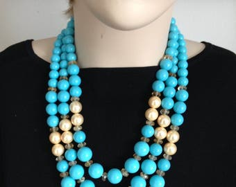 Ashira 3 Strand Turquoise Mother of Pearl Nacre Pearls Statement Necklace with Natural Citrine