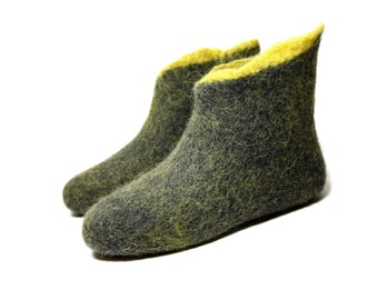 Felt Winter Boots, Valenki Black Gold, Rubber Soles Snow Boots, Felt Organic Wool Felted Shoes, Discount 5% OFF, READY to Ship US 7.5 Unisex