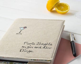 Mum Gift, Mother's Day, Thoughts on Gin Notebook, Journal, Personalised, Gin Lover, Gin Gift, Gift For Her, Best Friend Gift, Notebook Cover