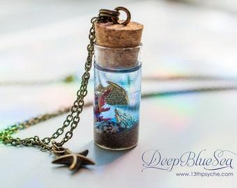 Ocean Bottle necklace, golden fish bottle pendant, miniature ocean shell necklace, shell bottle pendant, gift for women, mermaid necklace