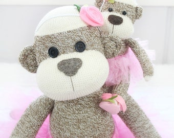 Mom and Baby Ballerina Sock Monkey Doll Set, Handmade Dolls, Mother's Day Gifts for Daughters