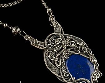 Maleficent Pendant - Lapis lazuli and Silver