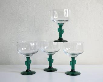 Four Cactus Margarita Glasses