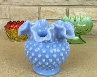 1950s Fenton Hobnail Vase * Pastel Blue Glass * Vintage Milk Glass