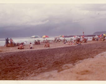 Vintage Photo, Busy Beach at Durban South Africa. Bathers, Beach Umbrellas, Swimsuits, Color Photo, Old Photo, Vernacular Photo, Snapshot