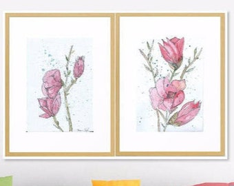 Set of 2 Magnolia Flowers Art Print Original Watercolor Artwork, 3 prints Spring Flower Watercolor Original Art Print, Modern Art Home decor