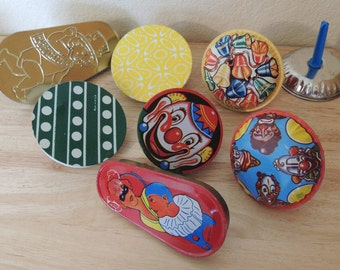 8 Tin Noise Makers including US Metal Toy Mfg Co