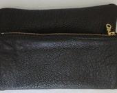 Black leather foldover clutch, Evening clutch bag, Makeup bag